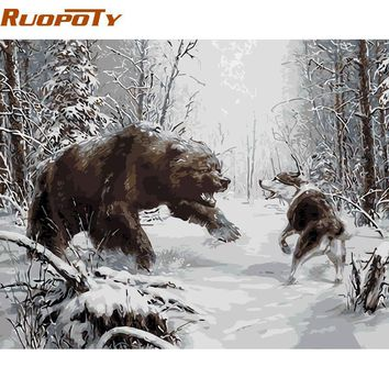 ruopoty struggle animals diy digital oil painting by numbers kits acrylic picture modern wall art picture for home decoration