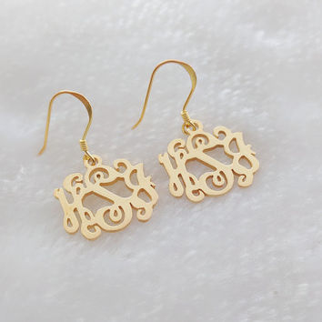 Wedding Earrins,Personalized Bride Earrings,Monogram Drop Earrings,Wedding Drop Earrings,Personalized Monogramm Earrings Initial Earrings