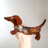 Geronimo - Dachshund, Small Art Puppet Lovely Dog Marionette, Felted Cute Stuffed Toy. brown orange coffee.  MADE TO ORDER .