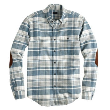 J.Crew Mens Chamois Elbow-Patch Shirt In Heather Granite Plaid