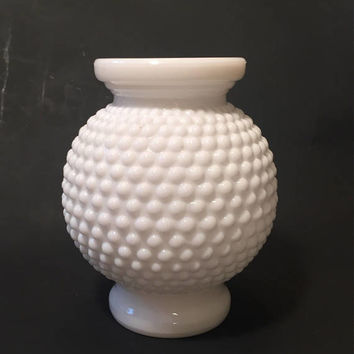 Hobnail Milk Glass Round Bud Vase, Vintage Milk Glass Vase, Votive Candleholder
