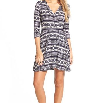 Junior Women's Socialite Print Wrap Dress,
