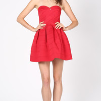 BANDAGE SKATER DRESS - RED