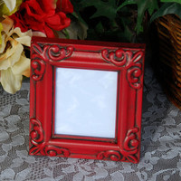 Ornate wedding picture frame: Vintage country cottage chic red hand-painted small decorative tabletop photo frame with easel back
