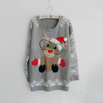 2016 Sweet Bear Wearing Christmas Hat Ugly Christmas gray Sweaters for Women Funny Plus Size Pullovers S-XXXL