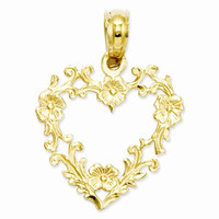 14k Yellow Gold Floral Cut-Out Heart Pendant