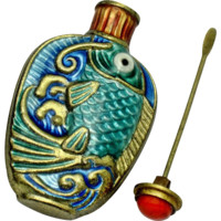 Chinese Export Snuff Bottle Cloissone Enamel Fish Orig Box