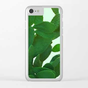 Cactus On Cyan Background Clear iPhone Case by ARTbyJWP