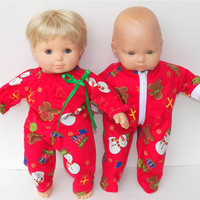 American Girtl Bitty Baby Twins Doll Clothes Red Gingerbread Man Snowman print Christmas Pajamas Sleepers 3pcs