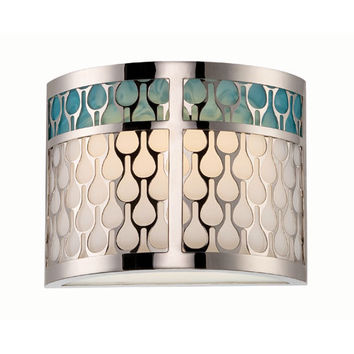 Nuvo Lighting 62/143 Raindrop Polished Nickel One-Light LED Wall Sconce w/ White Lucite and Removable Aquamarine Insert