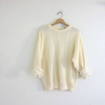 Vintage creamy white sweater. Oversized sweater. loose knit pullover. Soft cozy sweater.