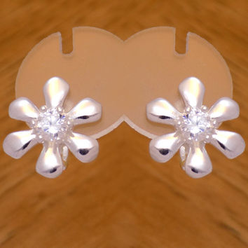 Beautiful Sterling Silver Cubic Zirconia Flower Earrings 925 Hallmark French Clip Cute Lovely Marvelous Design Handmade Handcrafted Elegant