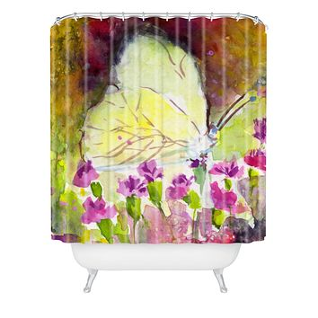 Ginette Fine Art Southern White Butterfly Shower Curtain