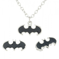 DC Comics Batman Logo Enamel Necklace and Earring Set