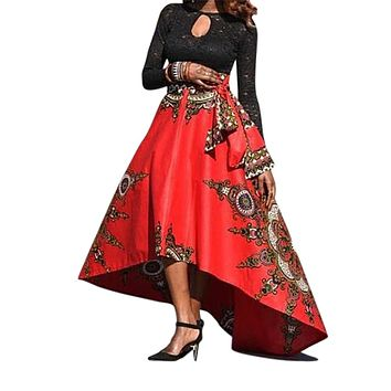 Novarena 2019 Women African Printed Womens Boho Chic Style Casual Maxi Skirt Flared Pleated Floral Maxi Dashiki Long Skirts Multi Plus Size A Line High Waist Ball Gown (S-3XL)