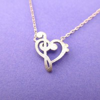 Treble and Bass Clef Heart Shaped Music Lovers Charm Necklace in Silver