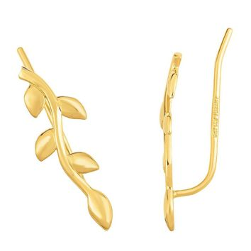 Amanda Rose Leaf Ear Climbers in 14k Yellow Gold