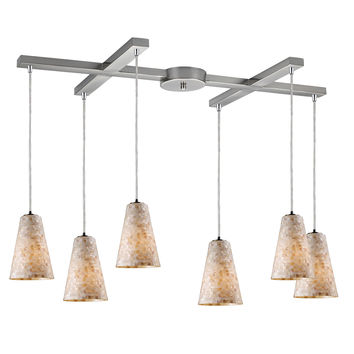10142/6 Capri 6 Light Pendant In Satin Nickel And Capiz Shell - Free Shipping!