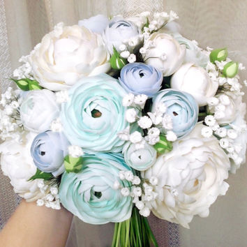Light Blue Ranunculus bouquet, Ivory peony bouquet, Austin Rose Bouquet, Baby's breath bouquet.