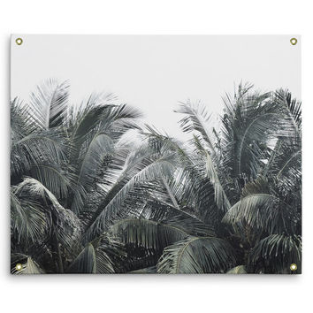 Cozumel Palms - Wall Tapestry, Tropical Green Coconut Palm Trees, Home Decor Wall Hanging Backdrop Accent Tapestry. In Small Medium Large