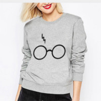 New  Spring ladies girl Harry Potter glasses Sweatshirts long sleeve pull O-Neck hoodie harajuku casual clothing
