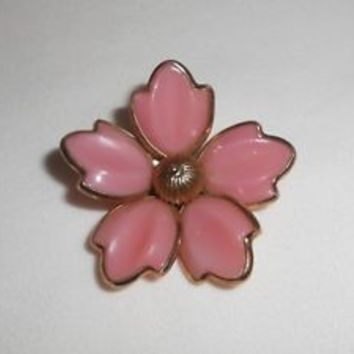 Trifari Magnolia Brooch Pin Pendant Pink Poured Glass Flower Crown Trifari