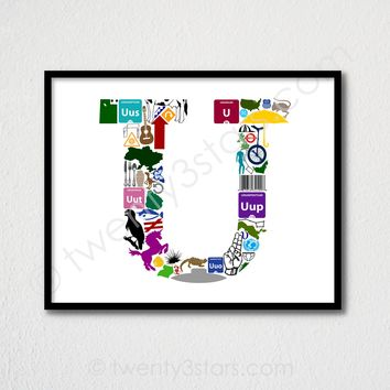 Letter U Monogram Wall Art - Choose Any Colors - twenty3stars
