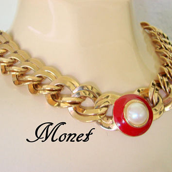 Chunky Monet Vintage Red Enamel Pearl Choker Bib Necklace / Designer Signed / Gold Tone Double Chain / Retro Jewelry / Jewellery