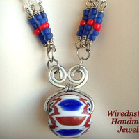10% off SALE***Nautical Red, White and Blue Seed Bead Necklace and Earring Set to show your Patriotism or show off a Red, Blue or White outf
