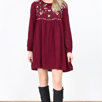 Smocked L/S Embroidered Yoke Dress {Burgundy}