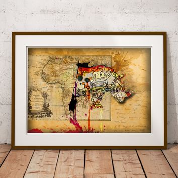 Rhino splatter art, Mechanical animal colorful decor, old map artwork, world art