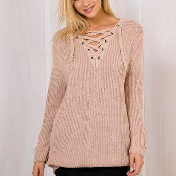 Pink Eyelet Lace Up V-Neck Sweater