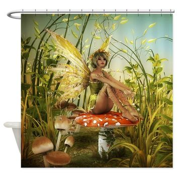 Mushroom Green Garden Fairy Shower Curtain