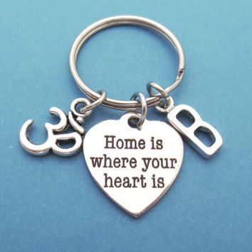 Personalized, Letter, Home is where your heart is, Om, Buddhism, Buddha, Buddhist, Yoga, Keychain, Keyring, Gift, jewelry, Accessories