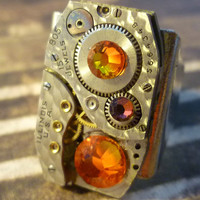 Steampunk Ring Adjustable For Him or Her Textured 15 jewels