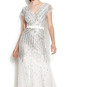 Adrianna Papell Cap-Sleeve Sequined Gown