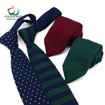 Yiyanyang Fashion Men's Striped Knit Tie Customized Knitted Ties Narrow Necktie Slim Skinny Woven Cravate For Drop Shipping Gift