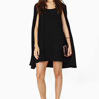 Round Neck Loose Chiffon Cape Dress