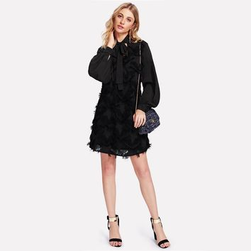 Fashion Dresses  Sleeve Fringe Tunic Dress Black Long Sleeve Party Wear Shift Womens Dresses
