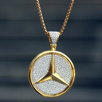 """Sterling Silver 14k Gold finish Luxury Car Logo Round Iced Out Pendant with free 24"""" Box Chain"""