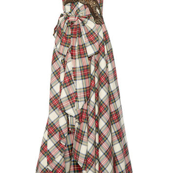 Gucci - Embellished plaid wool gown