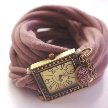 Endless Wrap Watch Dark Antique Bronze Watch Bracelet Taupe Cuff Filigree Leaf Bracelet Fashion accessory Women Teens Wrist Tattoo Cover