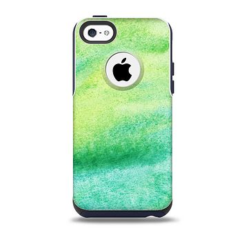 The Vibrant Green Watercolor Panel Skin for the iPhone 5c OtterBox Commuter Case