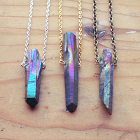 Rainbow Crystal Point Layering Necklace - Rough Natural Spike Gemstone with Gold / Silver