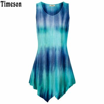 Summer Handkerchief Hem Line Women Sleeveless Top Tie-Dye Knitting Long Tunic Tops For Women Striped Shirt Black Blue Purple