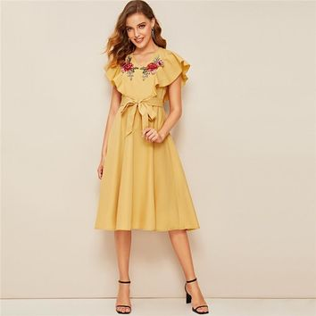 Ruffle Armhole Floral Embroidered Self Belted Dress Women Elegant V Neck Midi Dress High Waist Yellow Dress