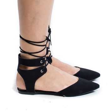 Deanna01 Black By Breckelle's, Pointed Toe Laced Ankle Cuff Leg Wrap Ballerina Flat Sandals