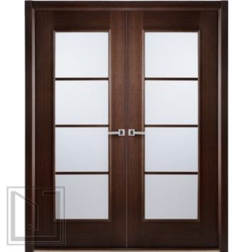 African Wenge Interior Double Door Frosted Simulated Divided Lite