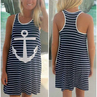 Earn Your Stripes Navy And White Stripe Anchor Tank Dress