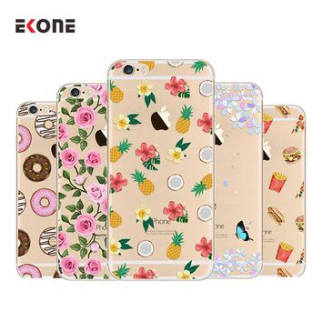 EKONE Flamingo Rose Girl Food For Coque iPhone 6 6s 7 7 plus case Silicone iphone 7 case Lady Phone cases for iphone 7 case